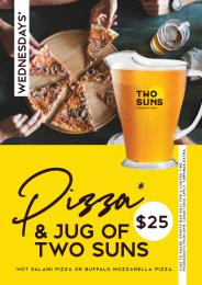 Pizza and Jug of Two Suns