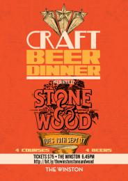 CRAFT BEER DINNER WITH STONE & WOOD.