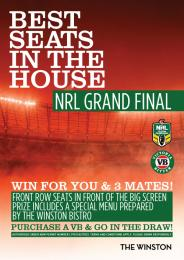 NRL GRAND FINAL BEST SEATS IN THE HOUSE